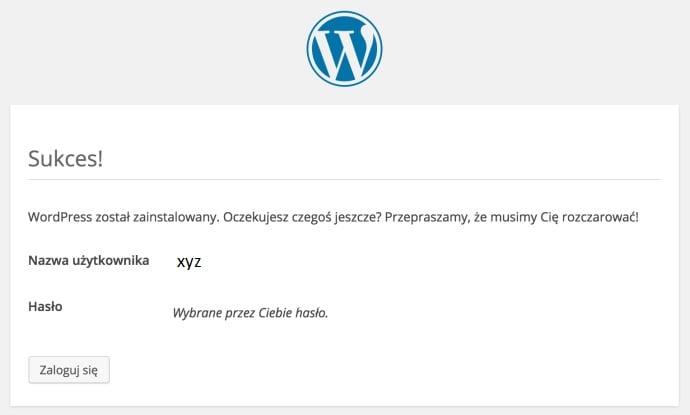 wordpress instalacja bloga zakończenie instalatora