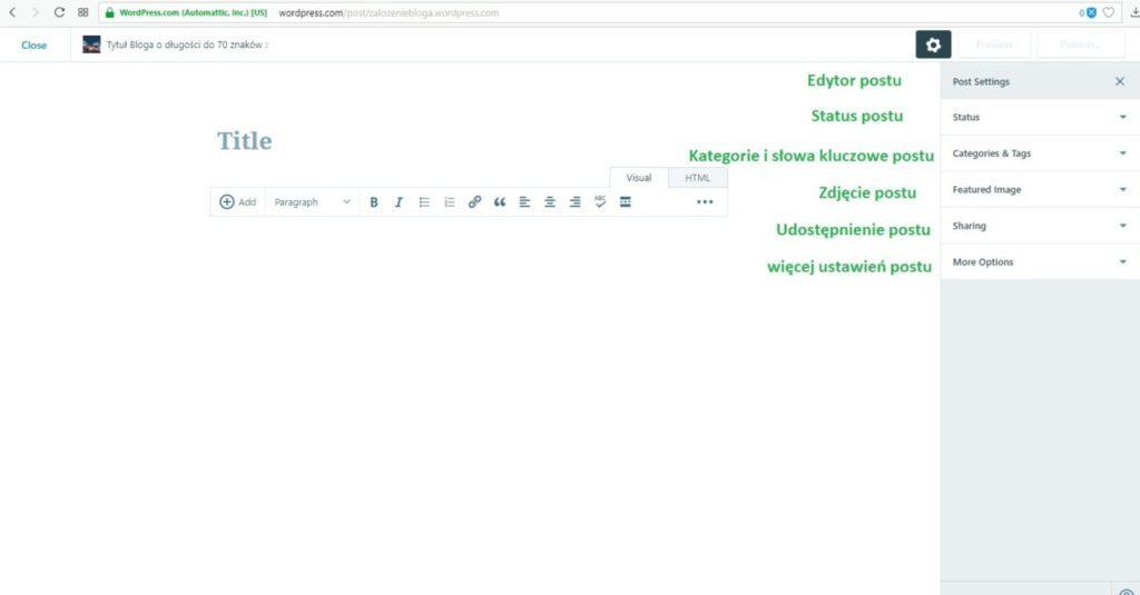 założenie bloga na wordpress.com - dodaj nowy post na blogu - wyjaśnienie