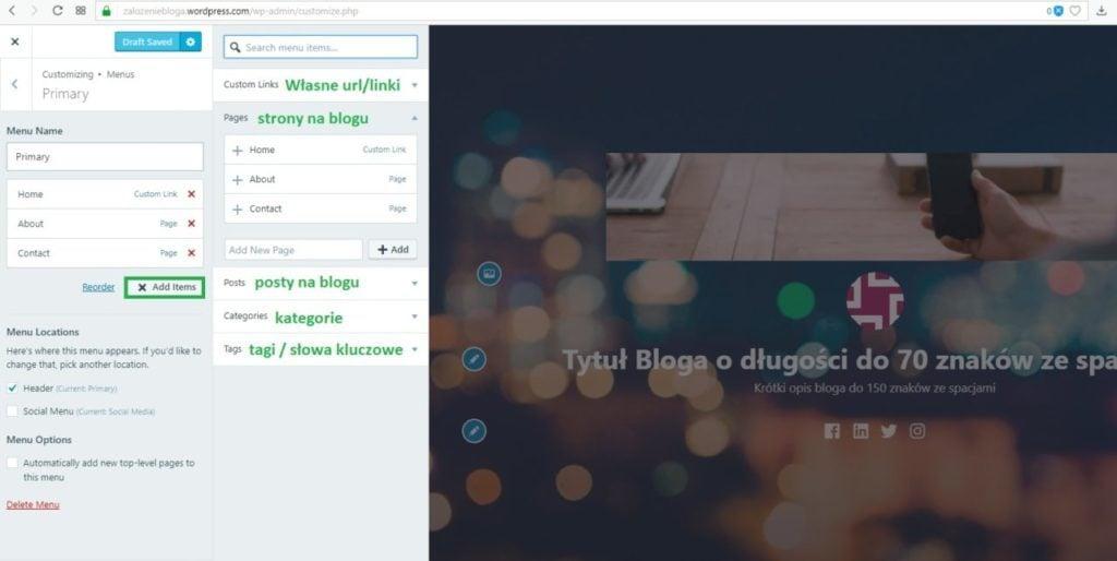 założenie bloga na wordpress.com - dodanie nowej pozycji do menu
