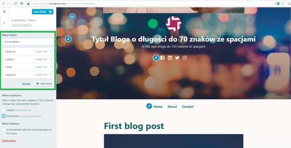 założenie bloga na wordpress.com - dodanie nowej pozycji do menu ikon społecznościowych