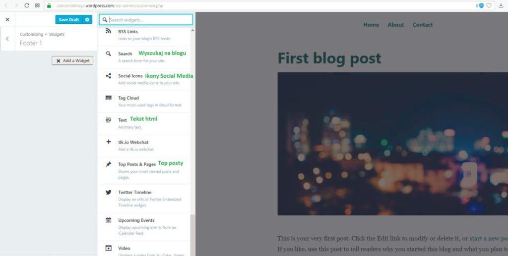 założenie bloga na wordpress.com - footer dodaj widget kolumnę na dole bloga