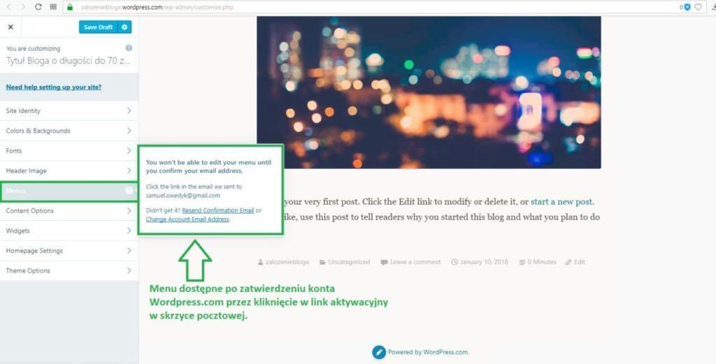 założenie bloga na wordpress.com - menu dostępne po aktywacji założenia konta