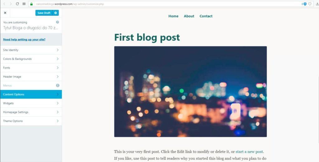 założenie bloga na wordpress.com - opcje treści na blogu