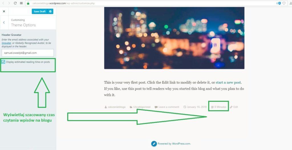 założenie bloga na wordpress.com - ustawienia motywu wyświetlaj czas czytania wpisów na blogu