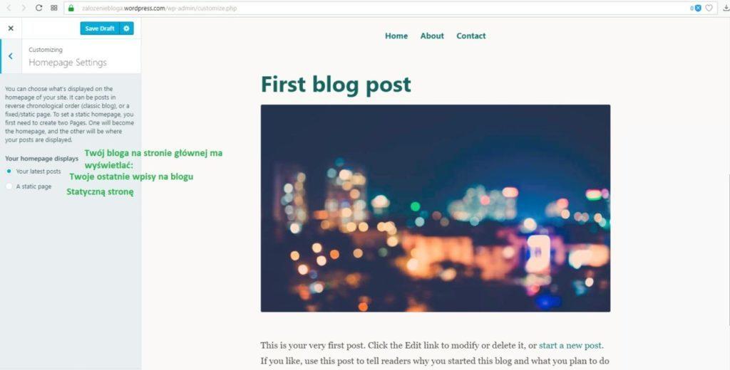 założenie bloga na wordpress.com - ustawienia strony głównej część 2