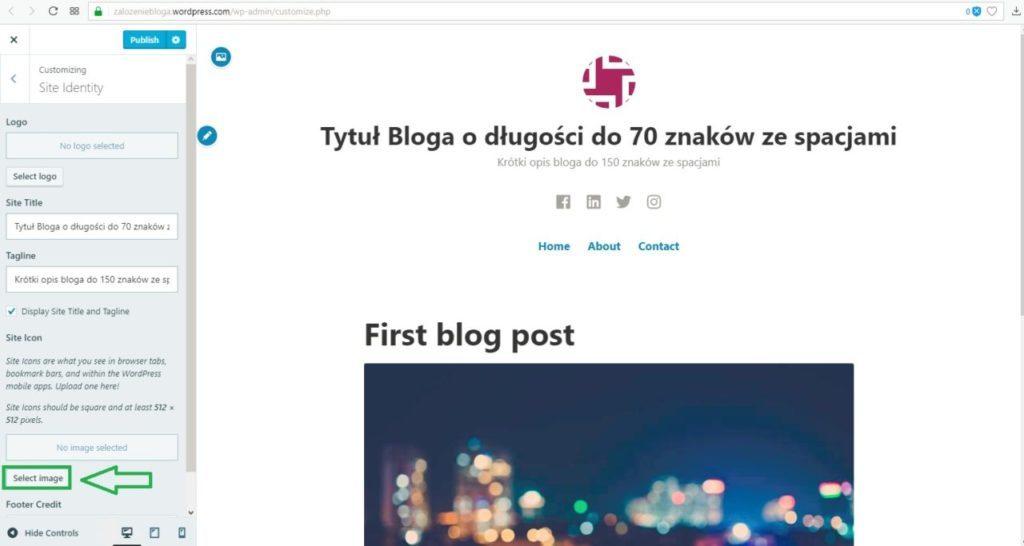 założenie bloga na wordpress.com - wybór ikony