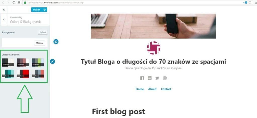 założenie bloga na wordpress.com - wybieramy paletę kolorów