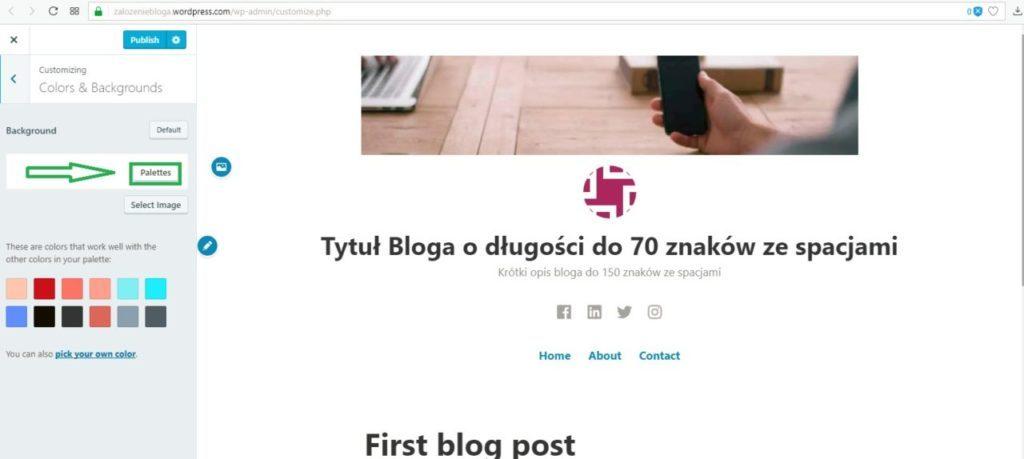 założenie bloga na wordpress.com - zmiana na paletę kolorów na blogu