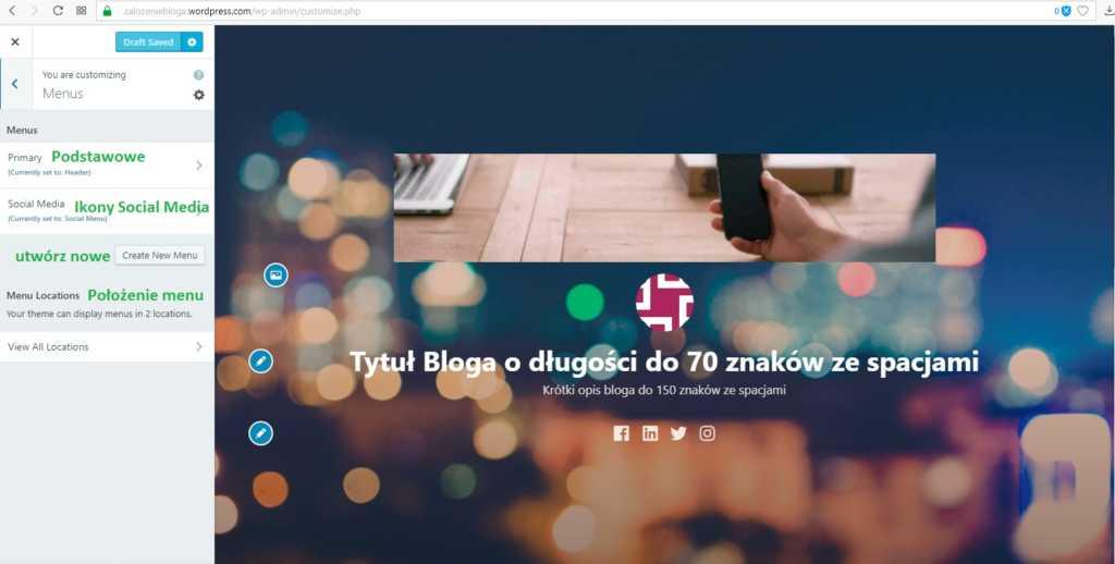 założenie bloga na wordpress.com - menu bloga i wyjaśnienie