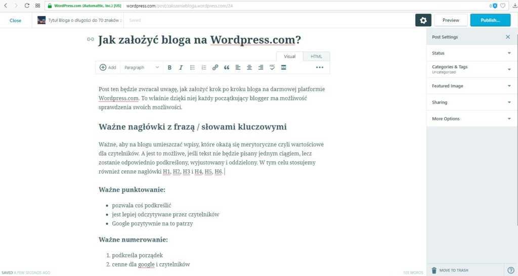 założenie bloga na wordpress.com - przykładowy wpis na blogu z nagłówkami