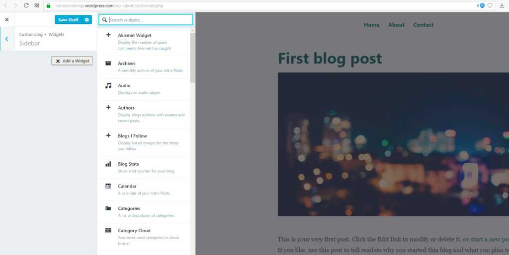 założenie bloga na wordpress.com - sidebar dodaj widget kolumnę po prawej stronie