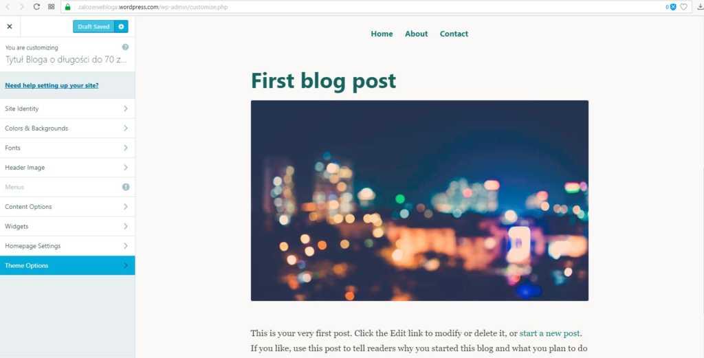 założenie bloga na wordpress.com - ustawienia theme