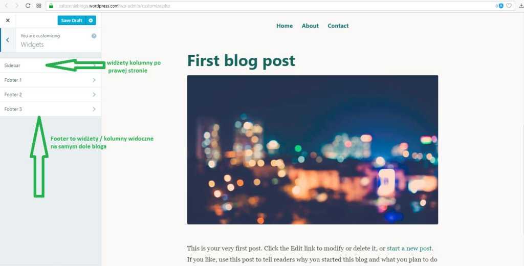 założenie bloga na wordpress.com - widżety kolumny na blogu część 3
