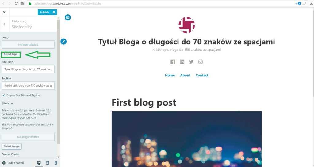 założenie bloga na wordpress.com - wybór loga czesc 1