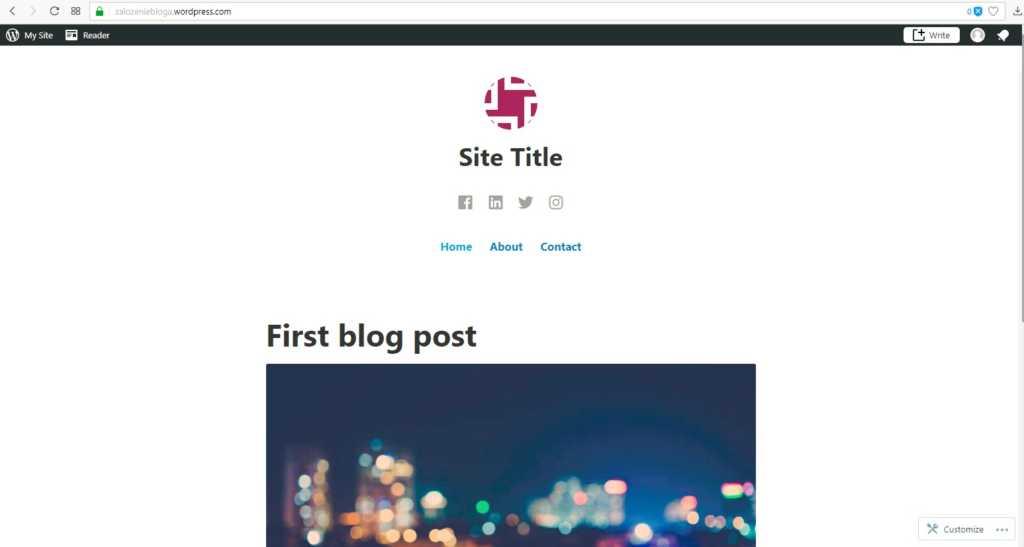 założenie bloga na wordpress.com - założenie bloga wygląd bloga na początku