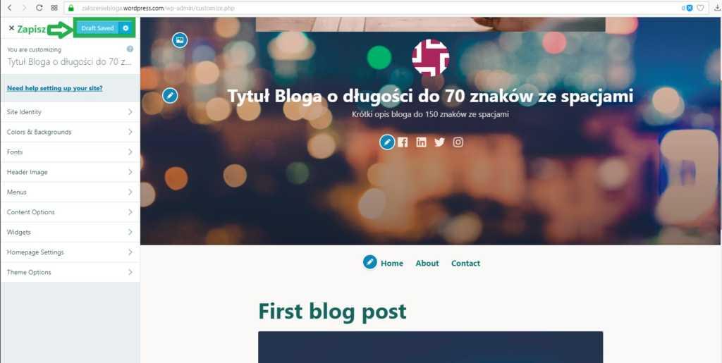 założenie bloga na wordpress.com - zapisz zmiany na blogu