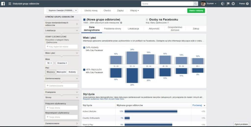 statystyki grupy odbiorców na facebooku