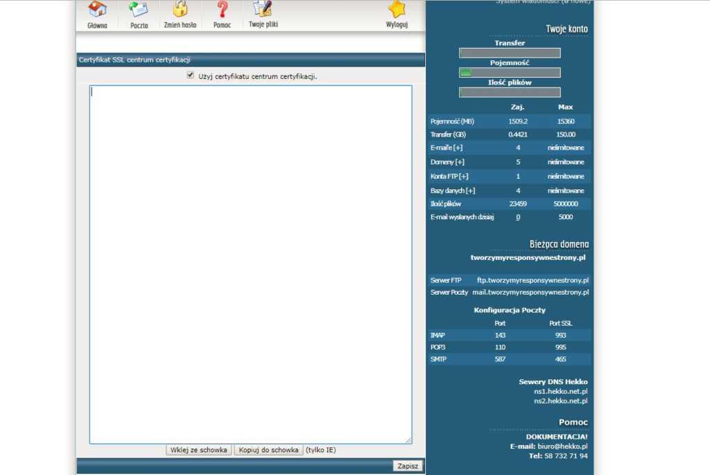 instalacja certyfikatu SSL - klucz CA od centrum certyfikacji w Direct Admin