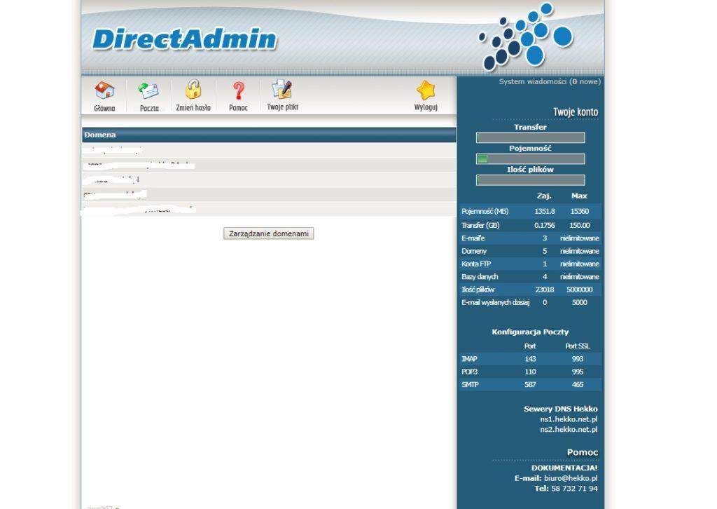 logowanie do Direct Admin aby założyć własną pocztę email / maila z własną końcówką