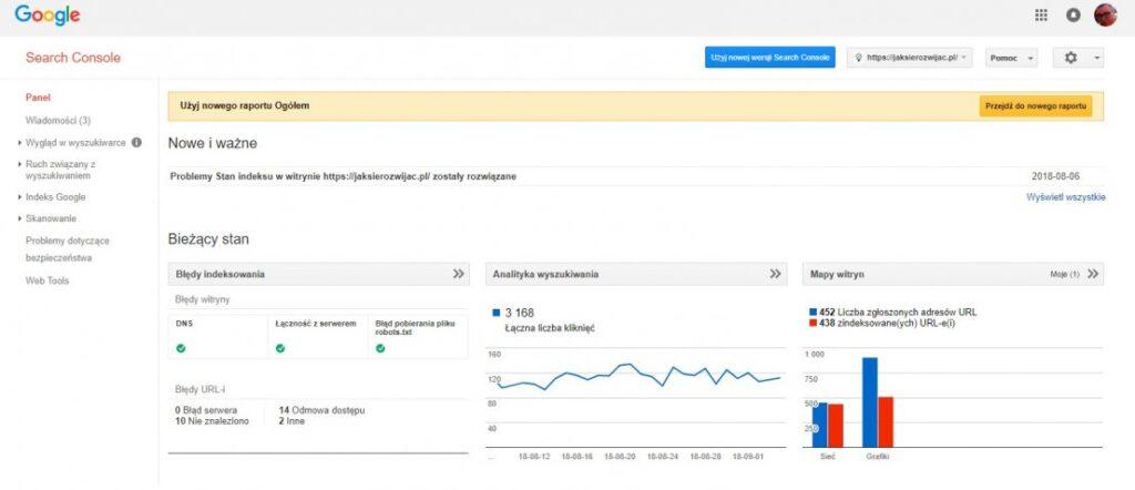 Google search console - panel główny strony