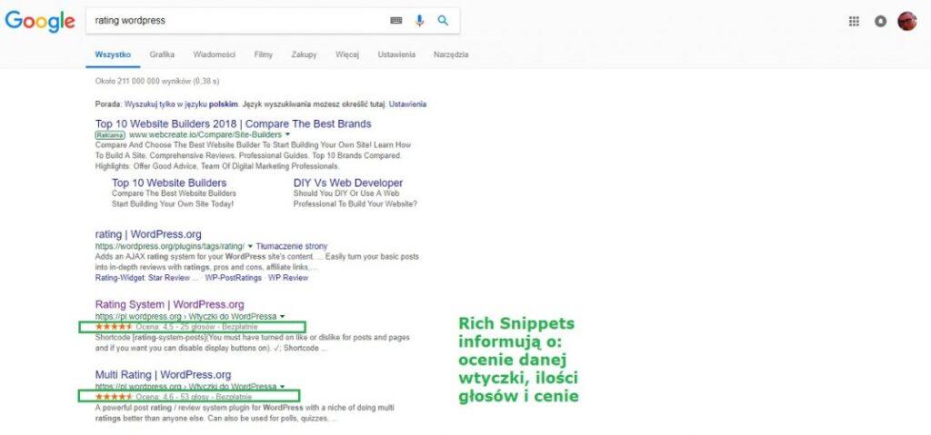 zalety google rich snippets