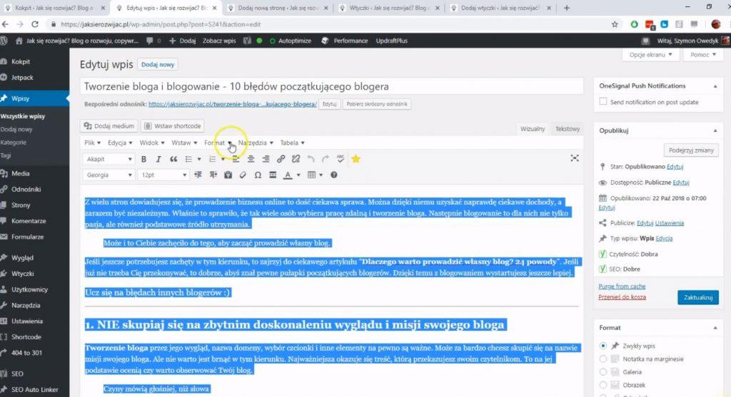 kopiowanie treści strony lub wpisu wordpress