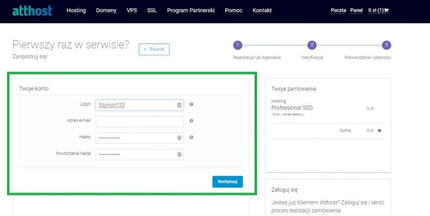 proces zakupu hostingu Atthost i domeny na blogowanie