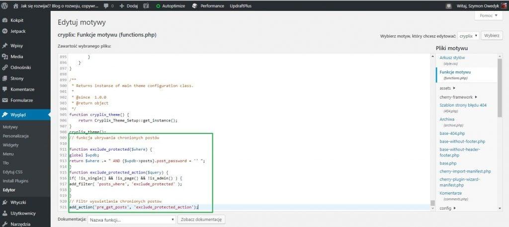 wklejenie kodu w pliku function aby zablokować widoczność wpisów i stron chronionych hasłem