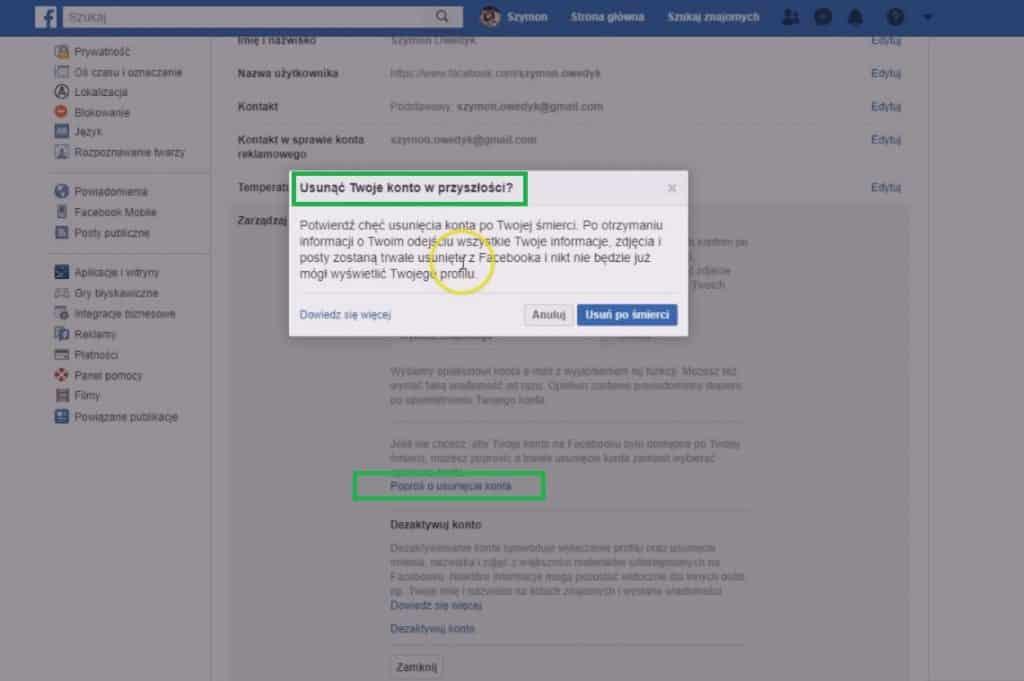 co po śmierci z kontem fb - usuń swoje konto Facebook w przyszłości