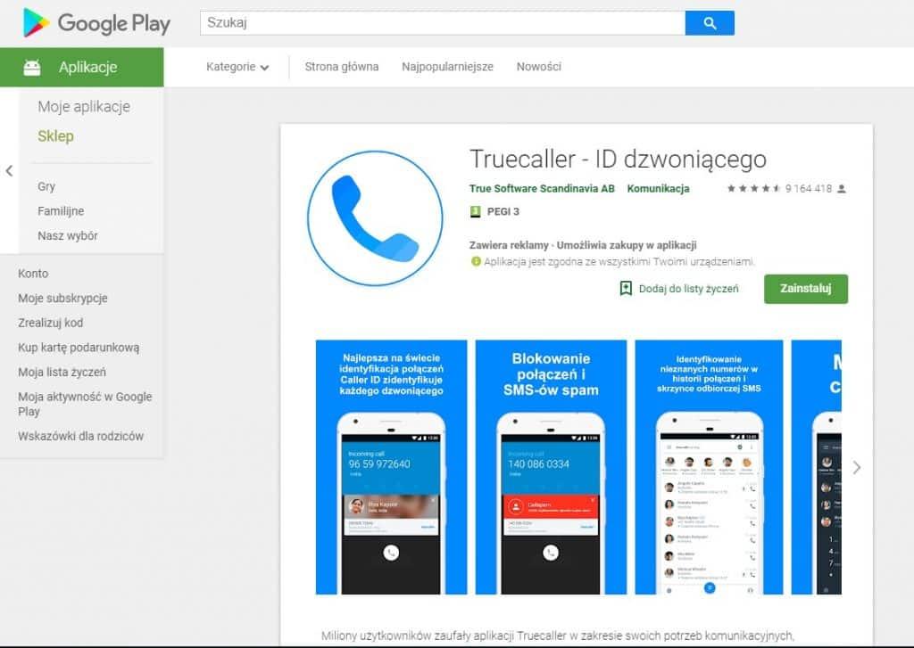 jak blokować niechciane połączenia i sms w telefonie - aplikacja truecaller id dzwoniącego