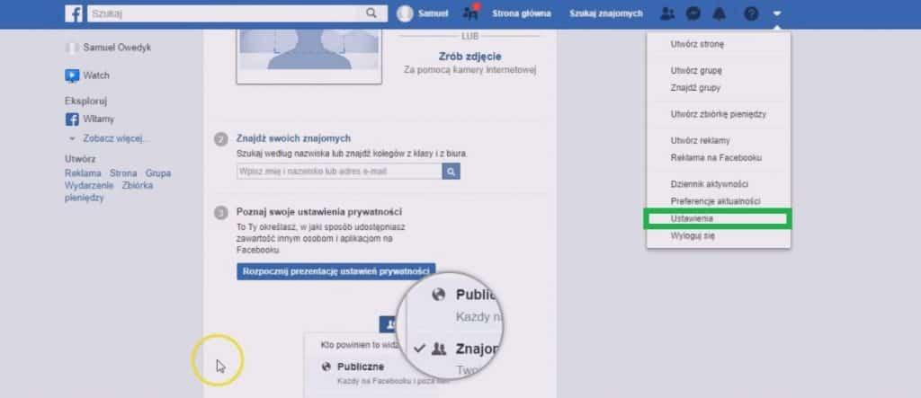jak ustawić konto na facebooku - ustawienia