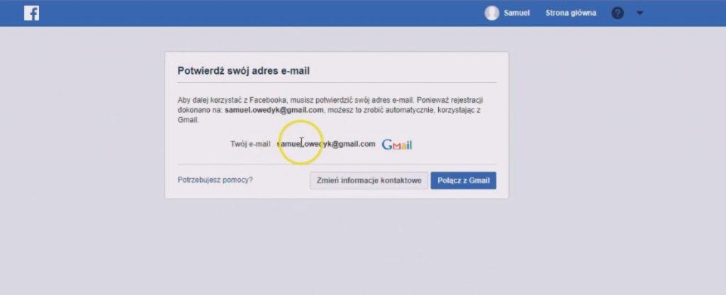 jak założyć konto na facebooku - potwierdzenie nowego konta fb