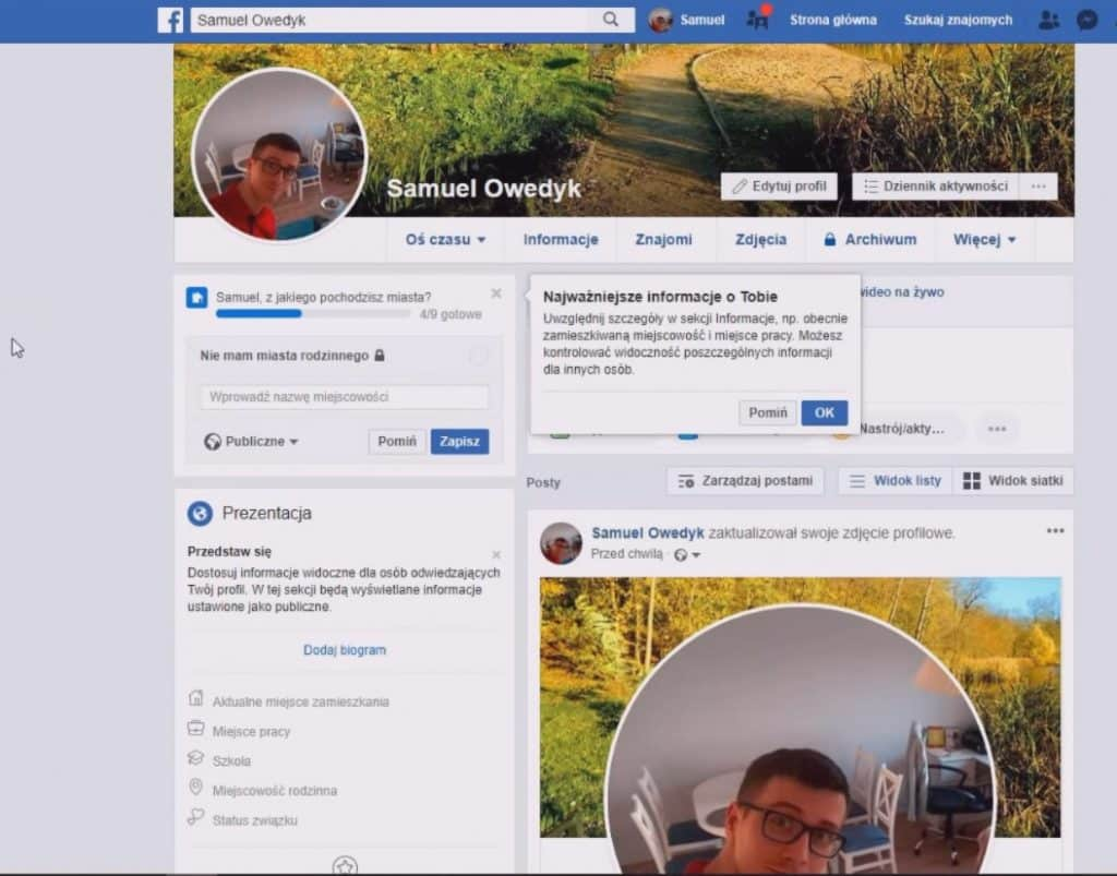 nowo założone konto facebook - nowe konto fb