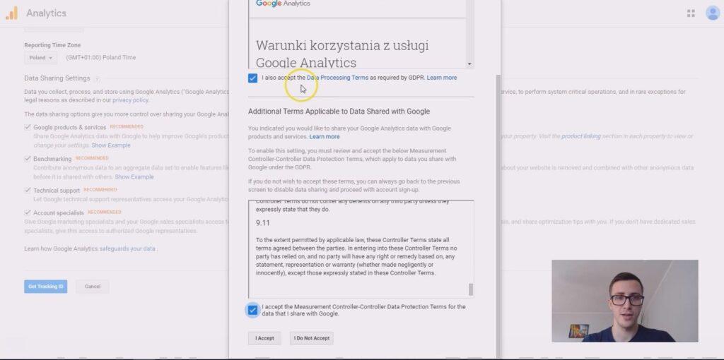 potwierdzenie założenia konta Google Analytics i monitorowania strony www