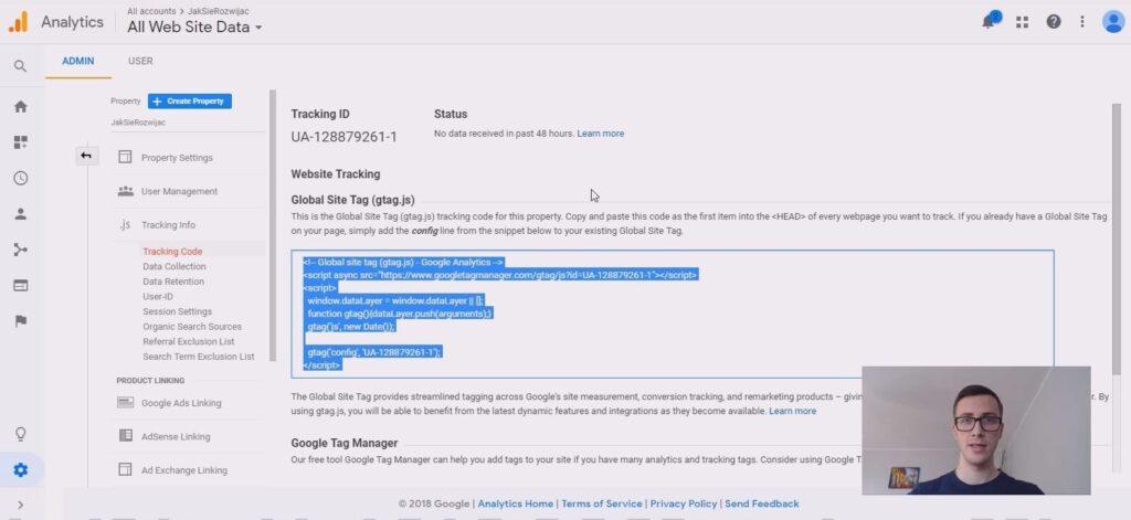 ustawienia Google Analytics do śledzenia strony www