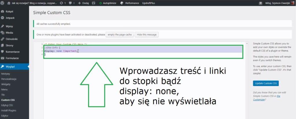 ustawienie stopka footer wordpress przez wtyczkę Simple Custom CSS