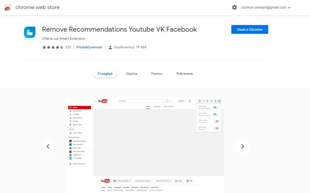 usuń rekomendacje youtube przez wtyczkę chrome i firefox remove recommendations youtube