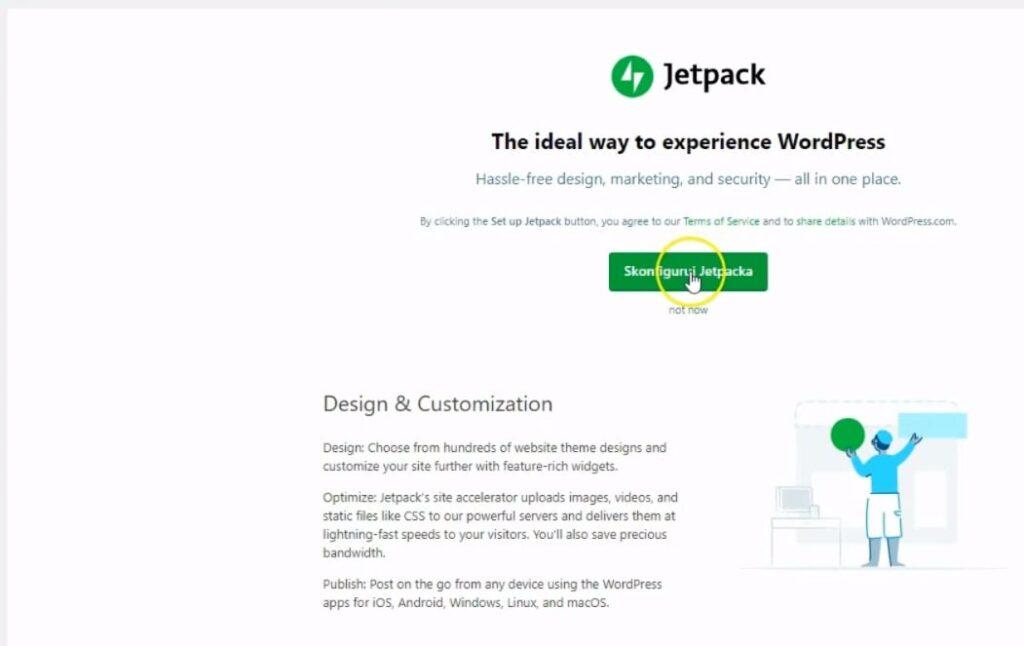 zainstaluj wtyczkę JetPack WordPress - część 2 - konfiguracja