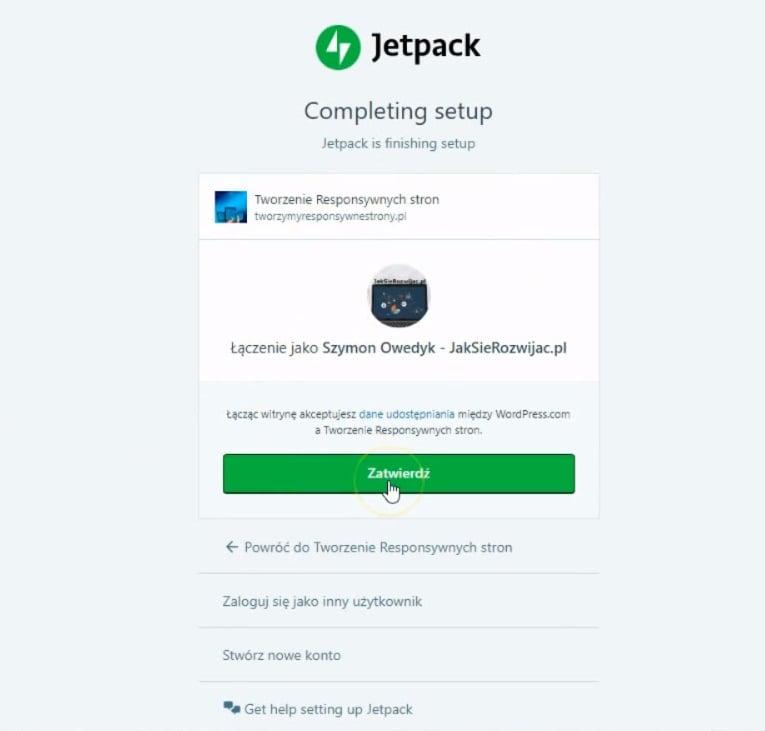 zainstaluj wtyczkę JetPack WordPress - zatwierdzenie połączenia