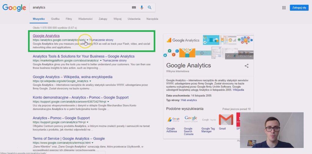 zaloguj się, utwórz nowe konto google analytics