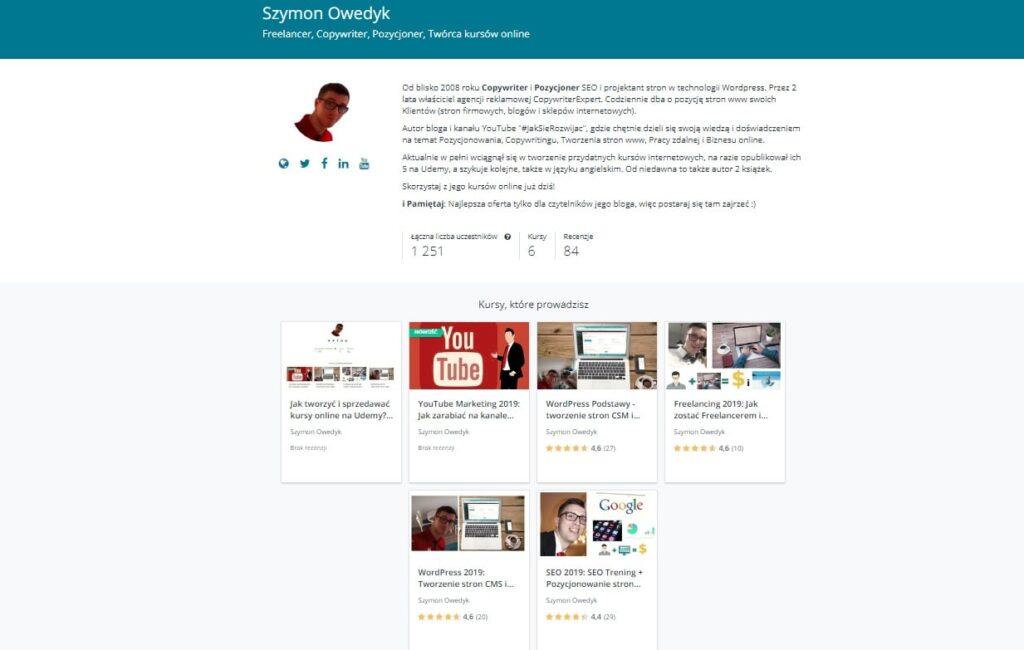 Sprzedaż kursów online na Udemy - instruktor Udemy Szymon Owedyk