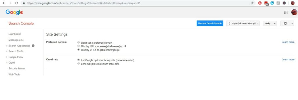 google search console optymalizacja strony przez ustawienie przekierowania 301