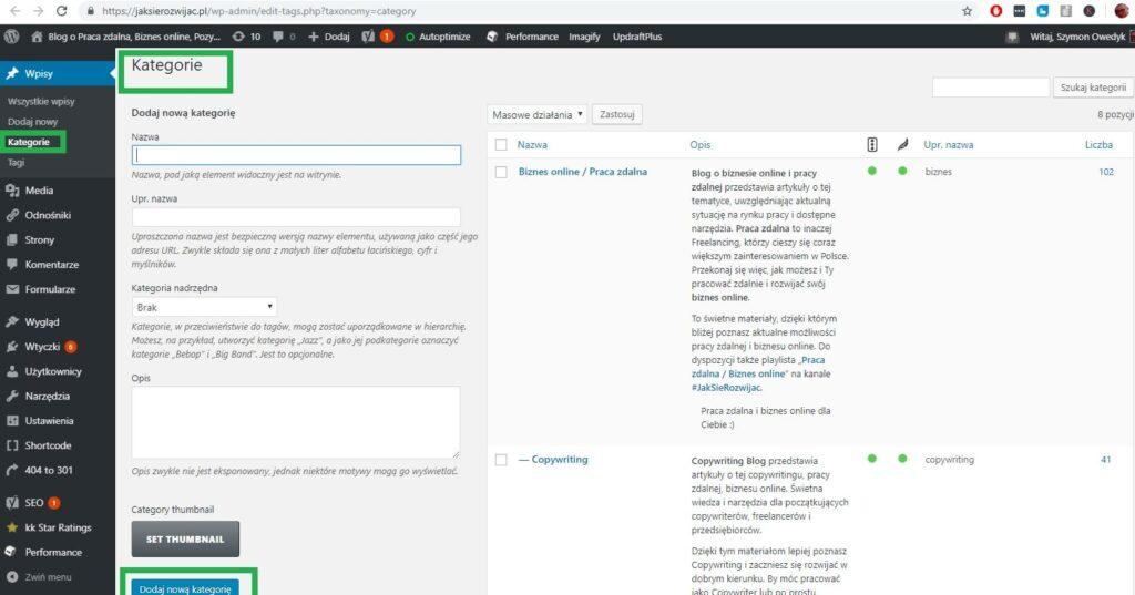 kategorie i podkategorie dla stron WordPress w celu optymalizacji treści