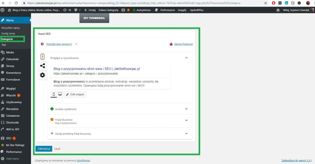 ustawienia znaczników meta dla kategorii w celu optymalizacji strony www pod google