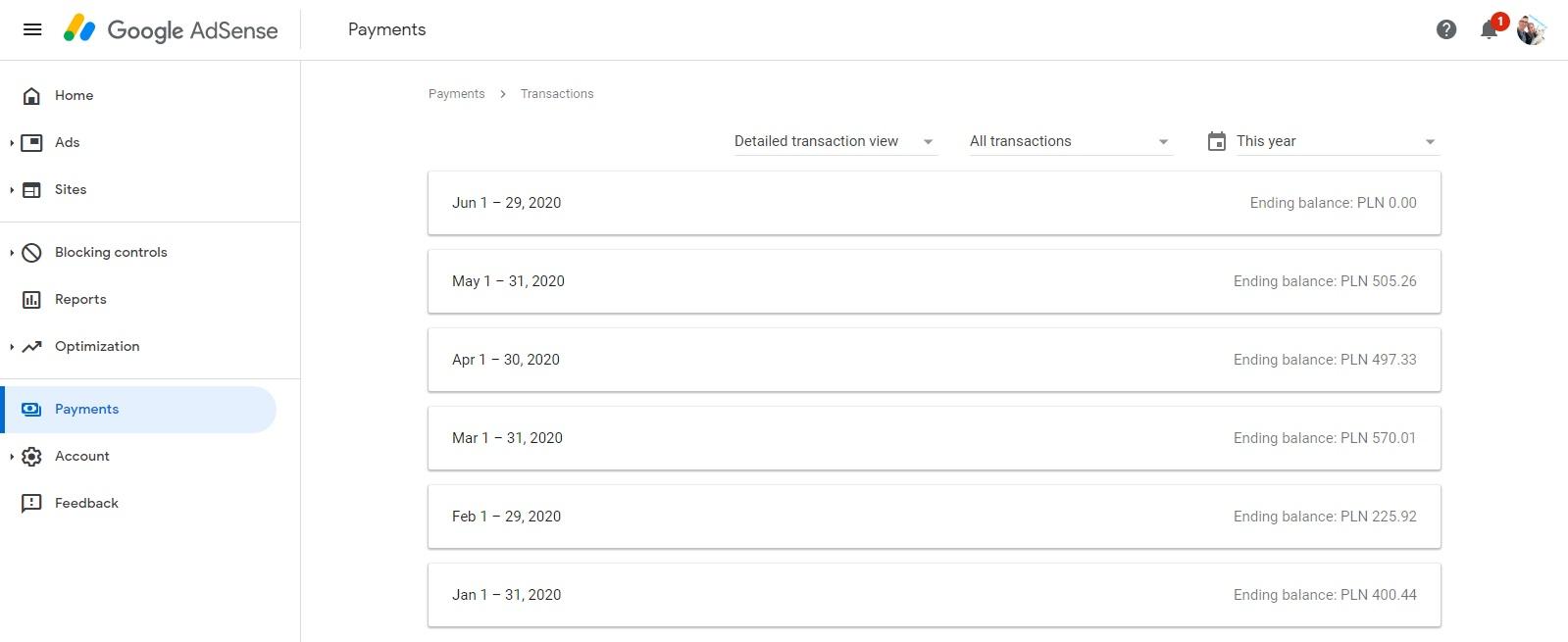 Dochody z reklam Google AdSense na moim kanale na YouTube
