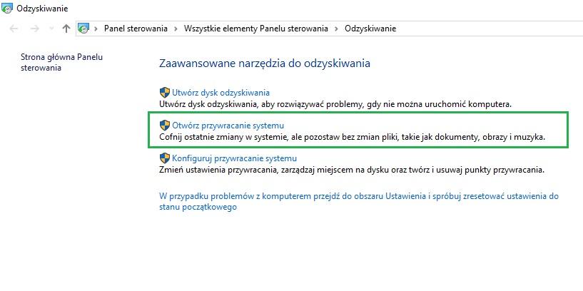 otwórz przywracania systemu Windows