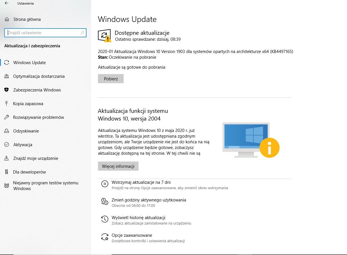 przywrócenia i odzyskiwania systemu Windows 10 przez aktualizacje i zabezpieczenia