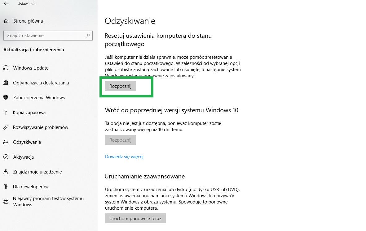 przywrócenie  Windows 10 przez cofnięcie aktualizacji, plików i sterowników