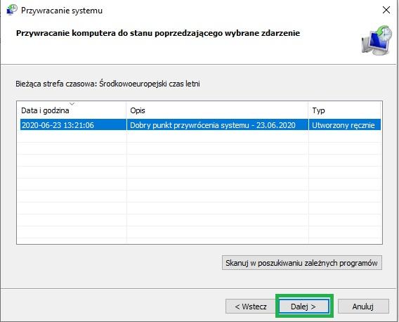 przywrócenie systemu Windows do stanu poprzedzającego wybrane zdarzenie