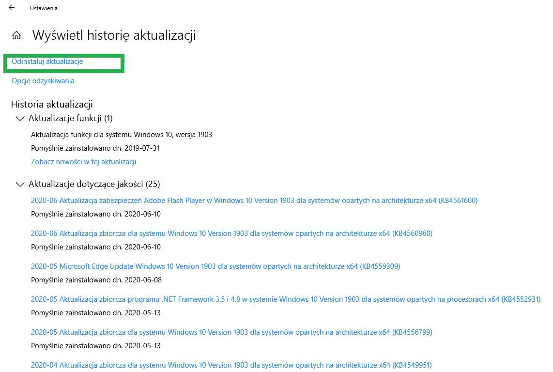 przywracanie systemu Windows 10 i 8.1 i 7 przez odinstalowanie aktualizacji